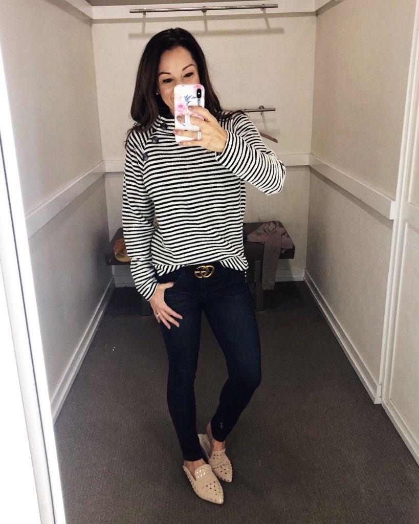 Stripe Buttoned Mock Neck Sweatshirt