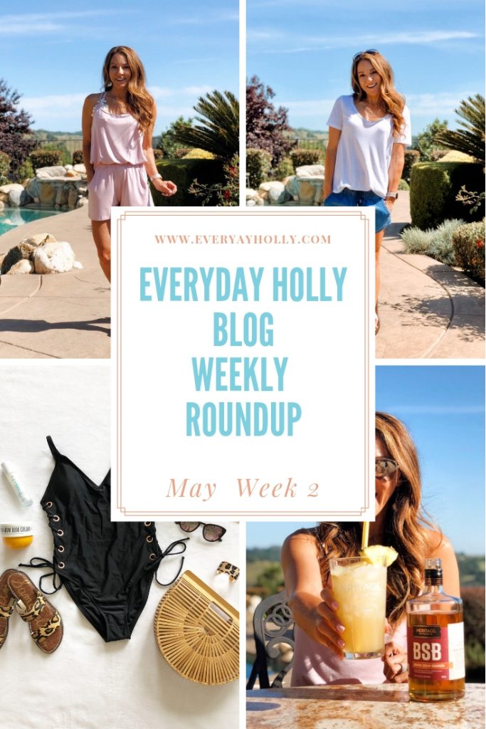 Everyday Holly Weekly roundup Amazon fabletics at home workout one piece swimsuit BSB Brown Sugar Bourbon LOFT