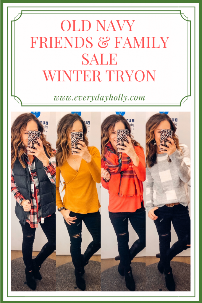 Old Navy Friends & Family Sale winter outfit tryon