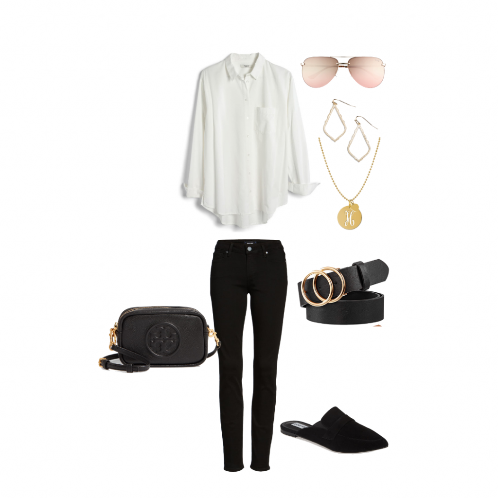 Black Denim white shirt outfit idea capsule wardrobe Everyday Holly