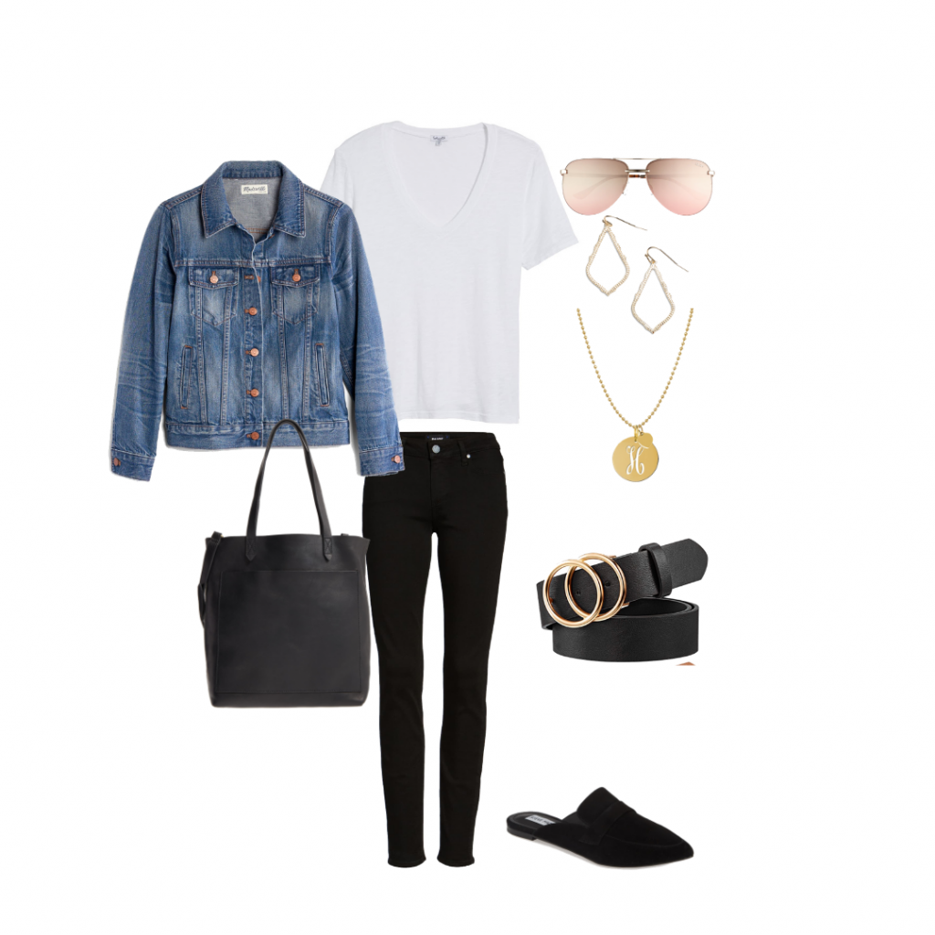 Black Denim white tee outfit idea capsule wardrobe Everyday Holly