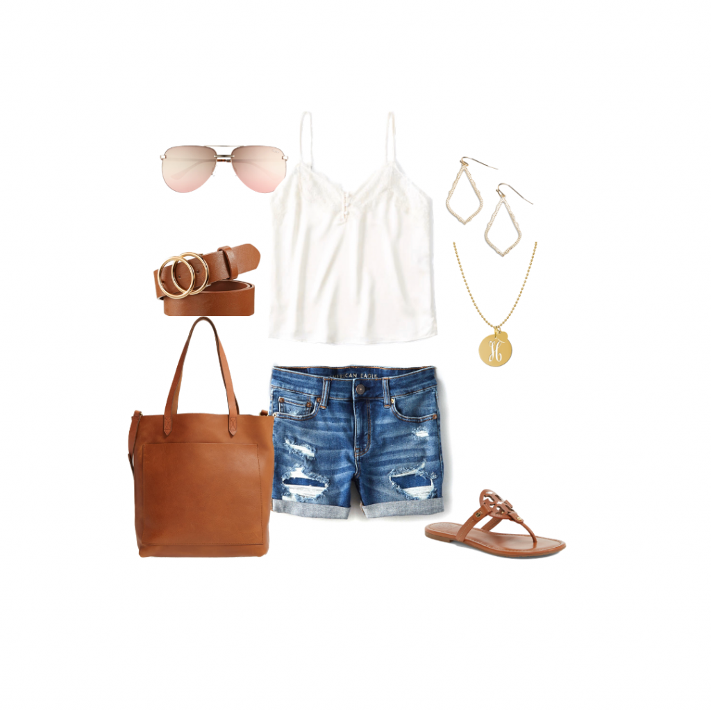 denim shorts white tee capsule wardrobe  outfit ideas capsule wardrobe Everyday Holly