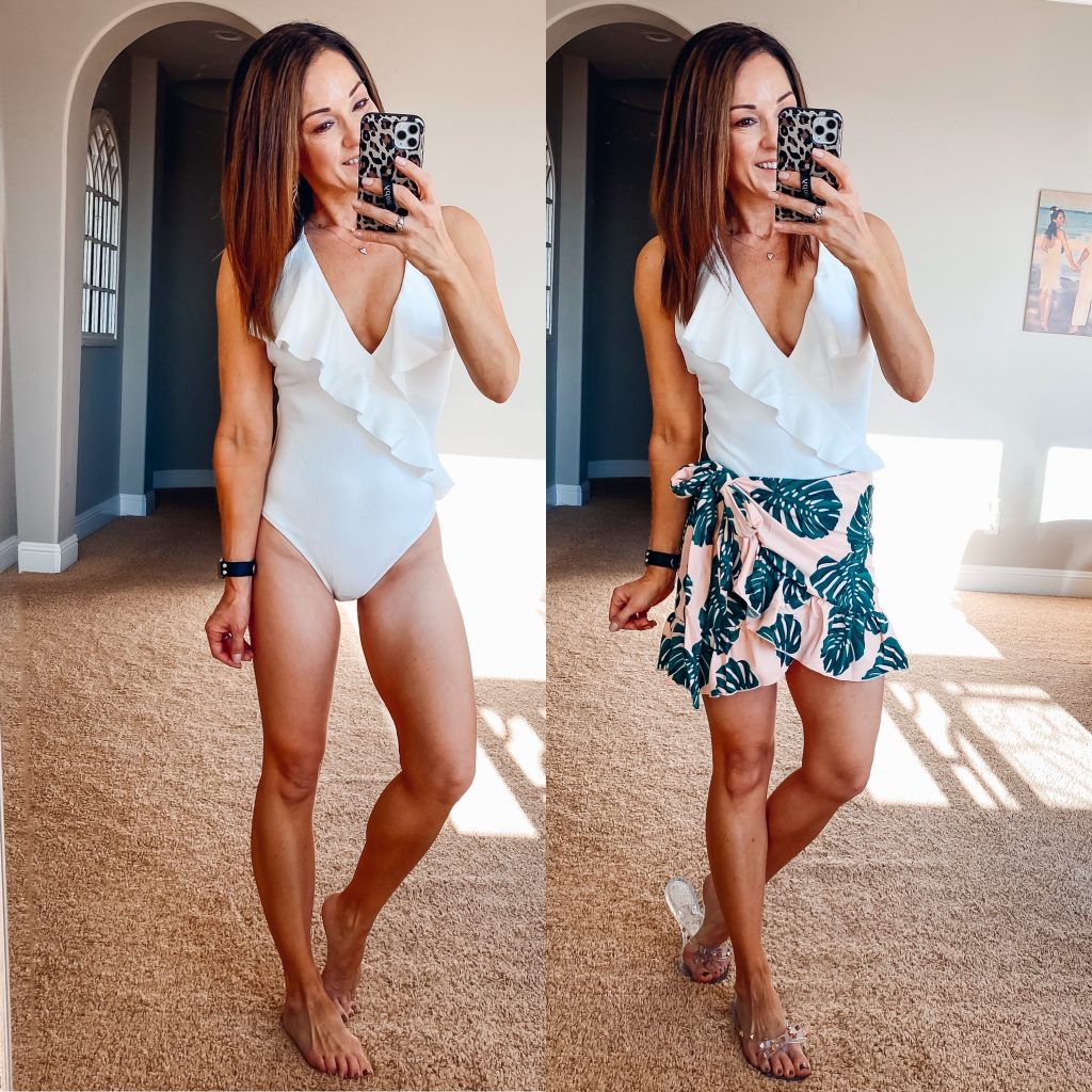 one piece swimsuit body suit with swim wrap skirt