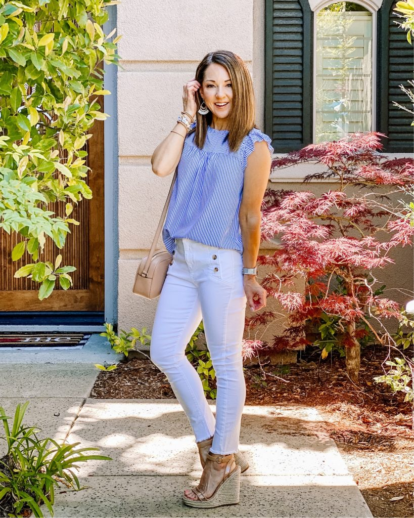 Loft spring and summer style 0 white denim over 40 fashion