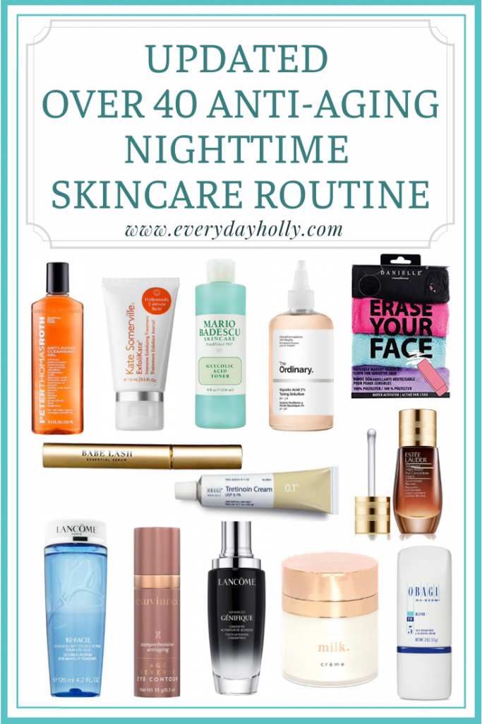 Nighttime anti aging mature skincare routine