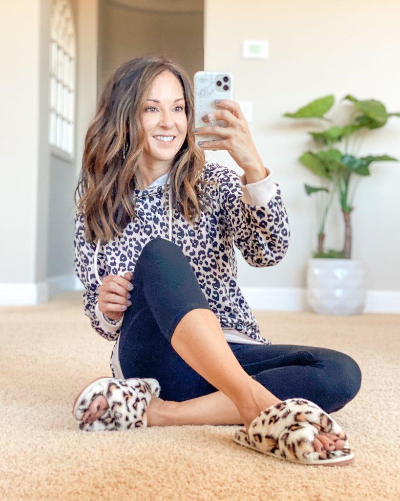 everyday loungewear style from Amazon.  leopard sweatshirt, leggings and leopard slippers