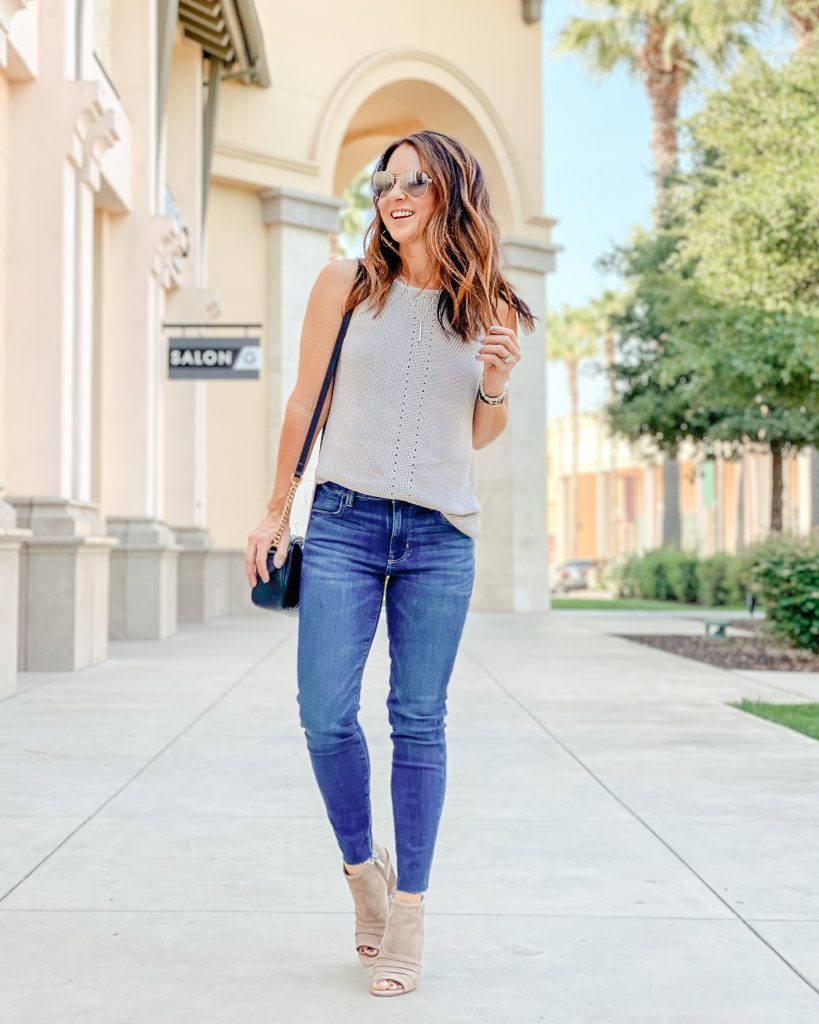 The perfect fall sweater tank from Amazon - petite over 40 mom style