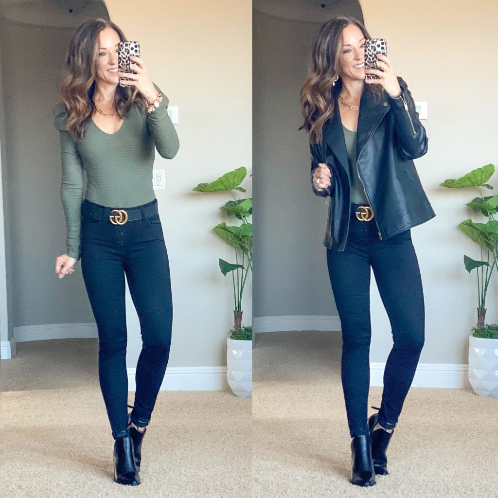 affordable fall style // date night style // bodysuit // faux leather moto jacket