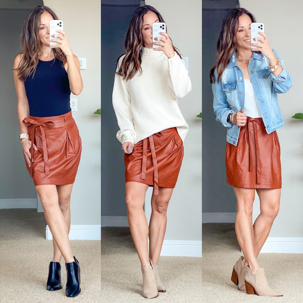 fall faux leather skirt// brown leather skirt //