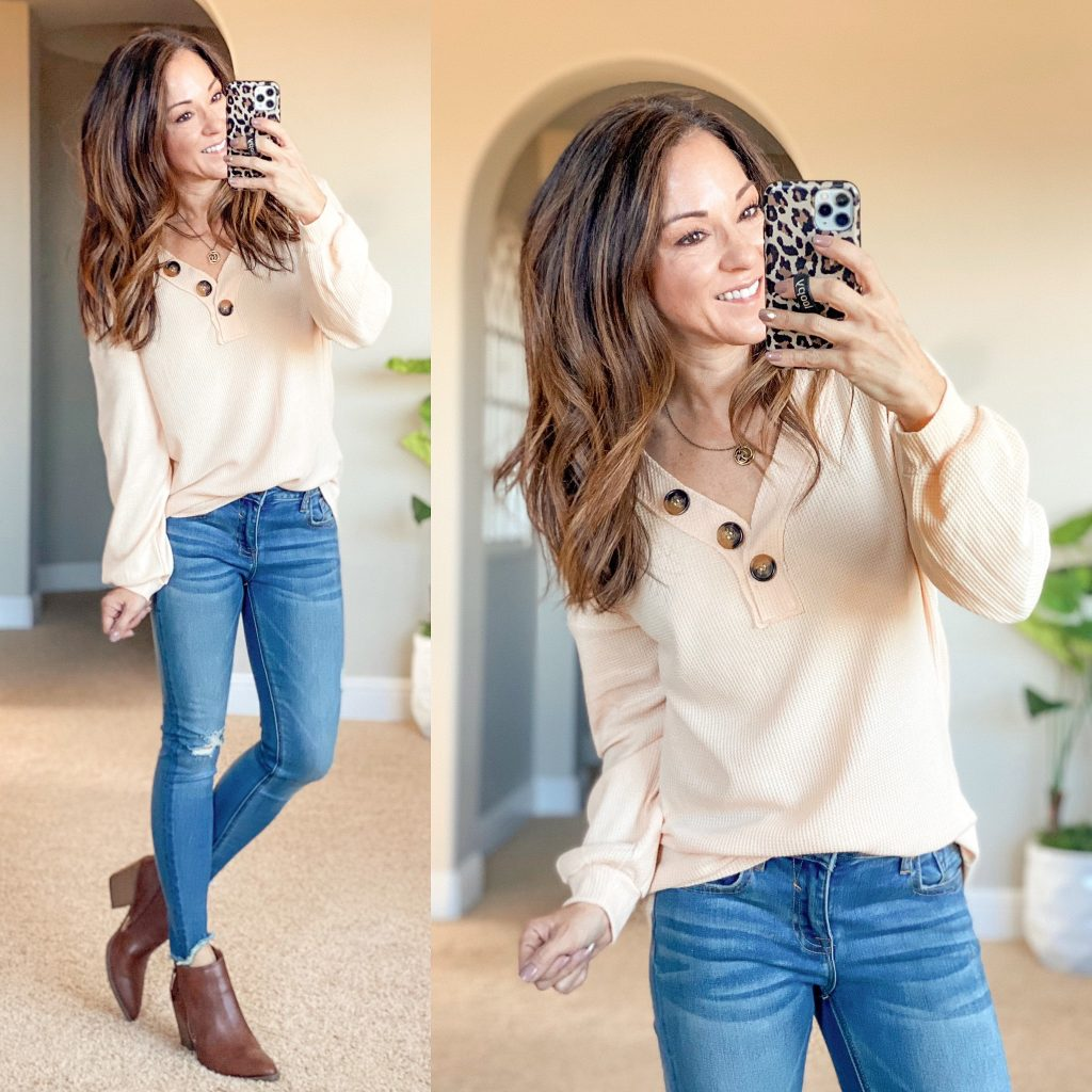 amazon top // fall amazon top // waffle knit top, causal outfit