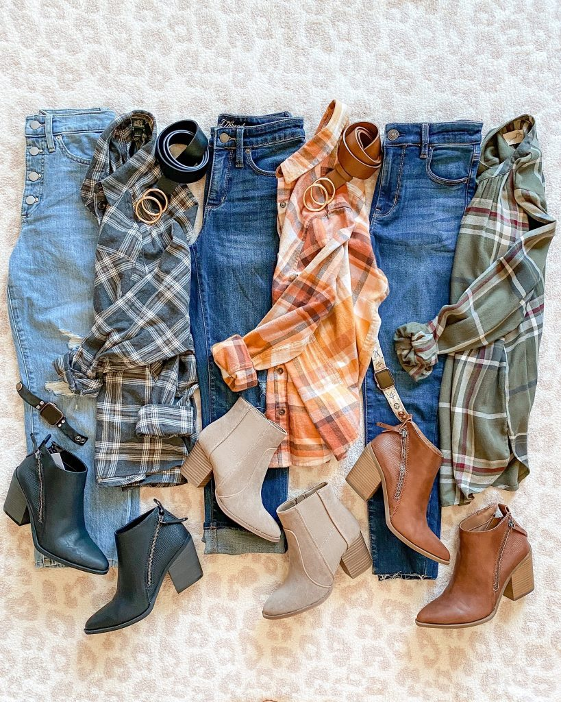 target style, target outfits, outfit flatlay, flannel style , fall booties, target booties, target fashion