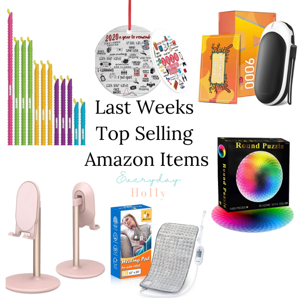 Amazon top sellers // 2020 ornament, hand warmer // phone stand // puzzle // heating pad