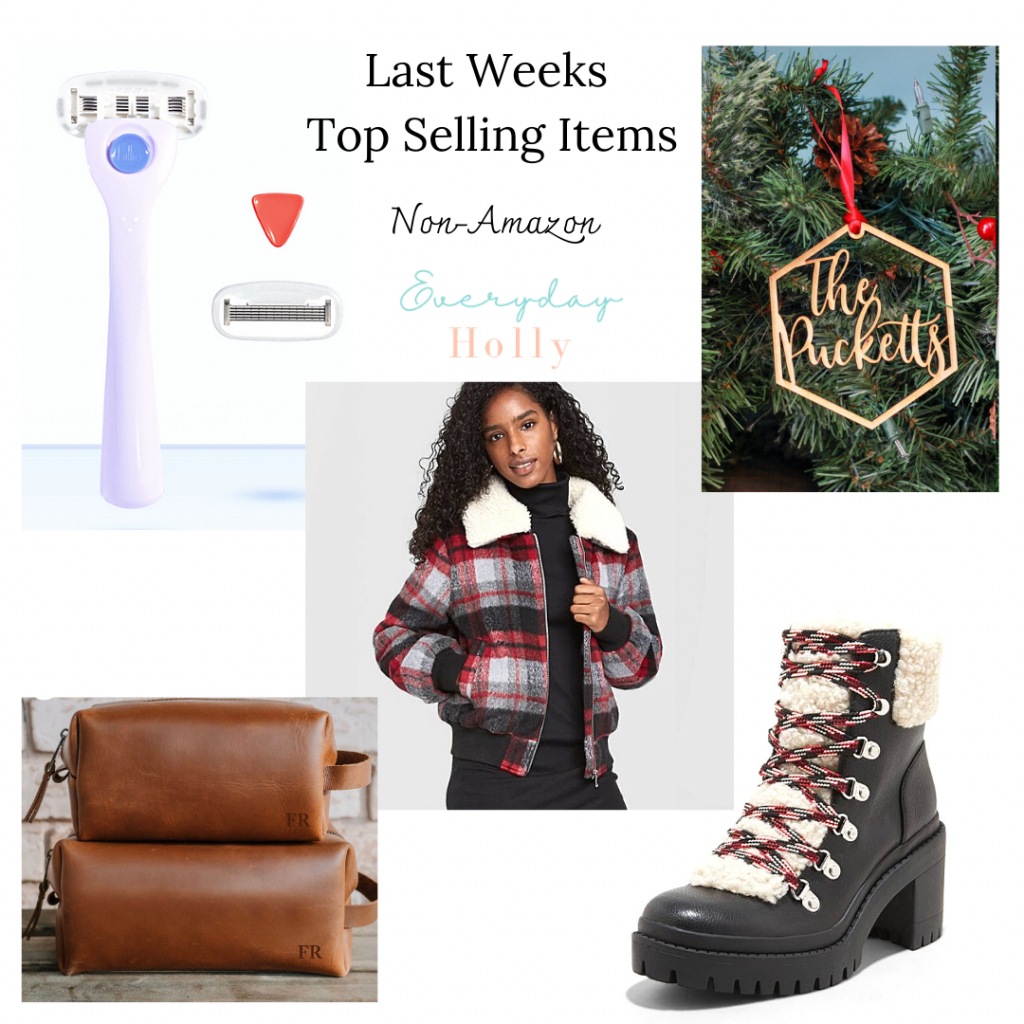 Best sellers from my blog // plaid bomber jacket // personalized gifts for him // personalized ornaments // Billie razer