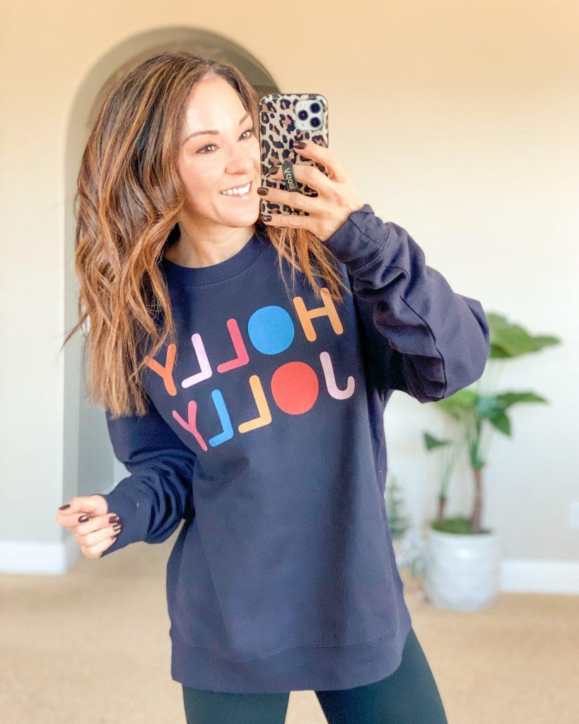 Holly Jolly sweatshirt // holiday sweatshirt