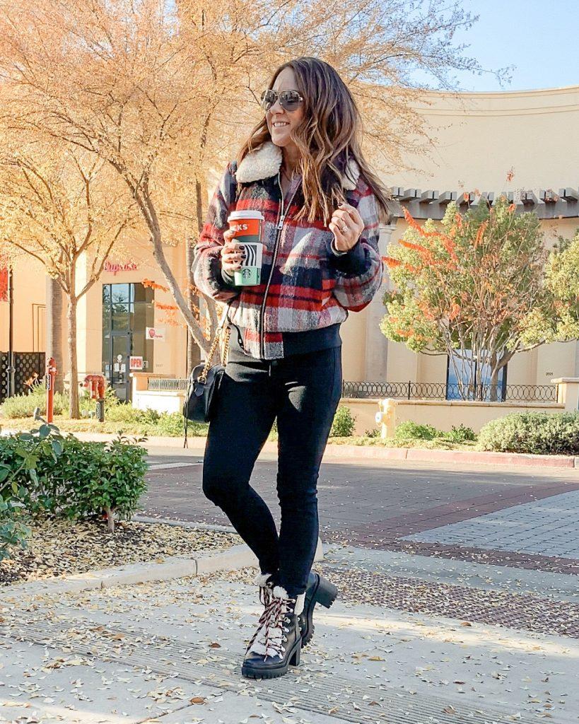 mom style // mom fashion // plaid bomber jacket // target style