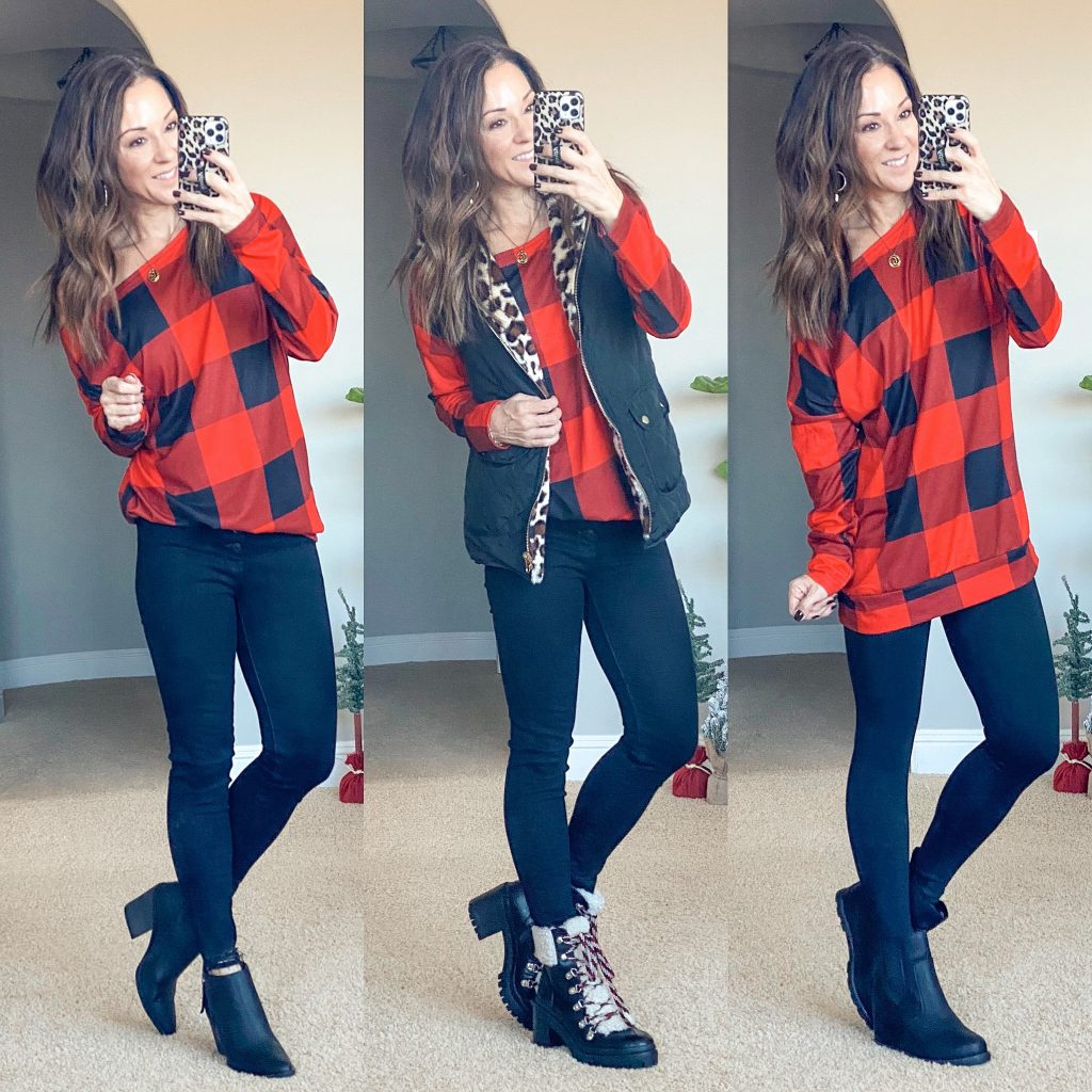 buffalo plaid off the shoulder tunic top // winter style // casual outfits