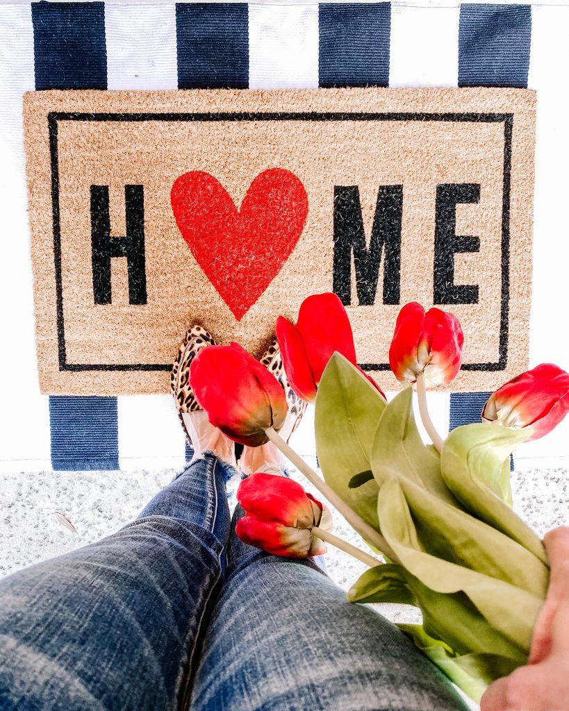 valentines decor, valentines doormat, heart doormat