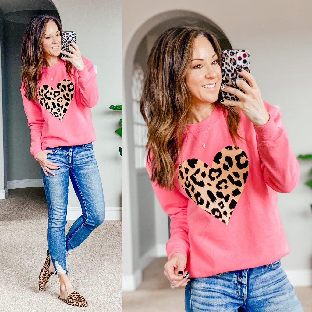 Valentines sweatshirt, valentines top, leopard heart top