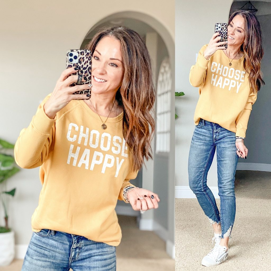 Choose Happy Graphic sweatshirt soft and cozy