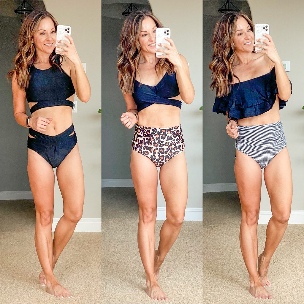 two piece swimsuit high waisted amazon affordable full coverage