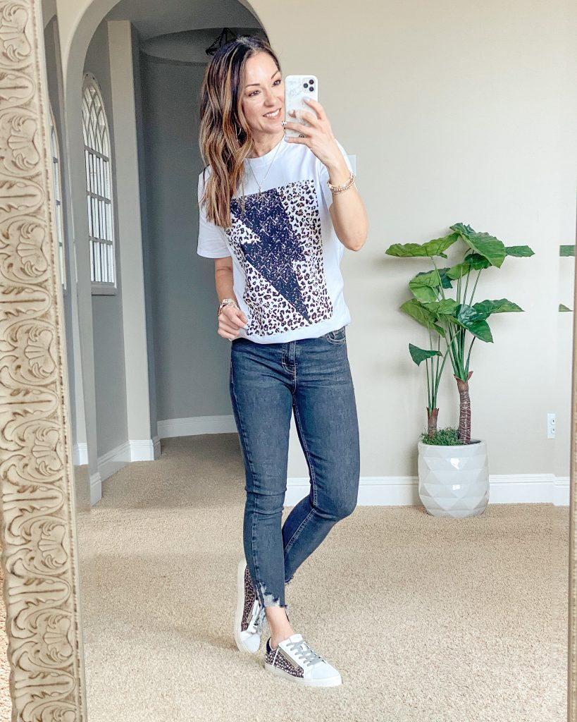 Lightning bolt and leopard graphic tee