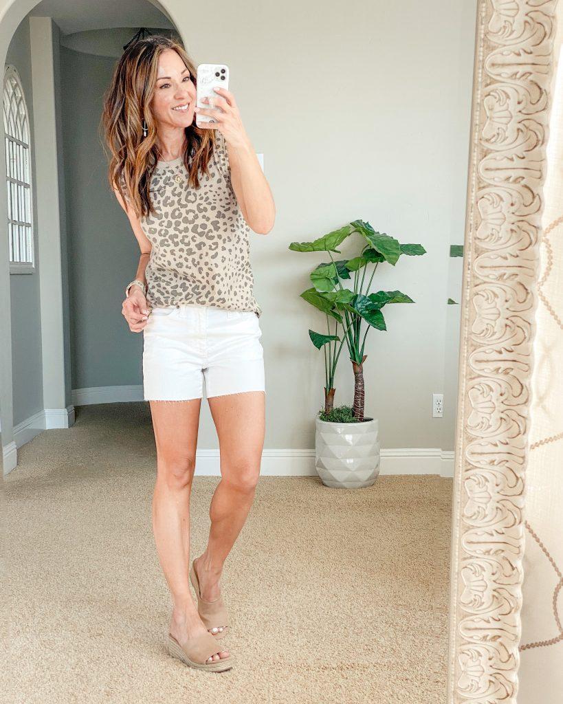 leopard tanks, white denim shorts, over 40 petite style