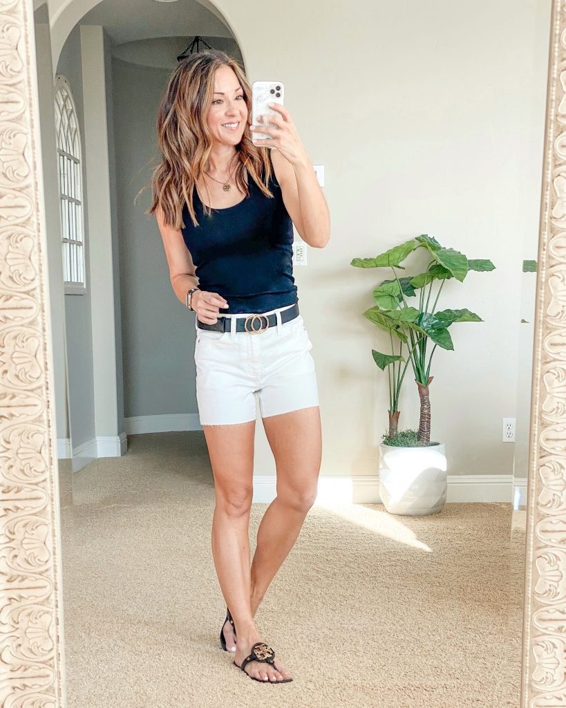 $5 tank perfect for summer and layering, white denim shorts, amazon belts