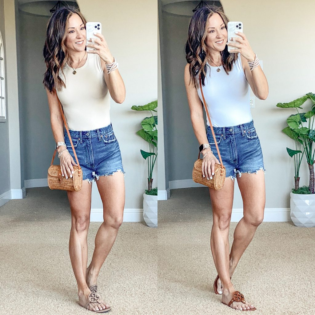 summer style with Abercrombie shorts and bodysuit