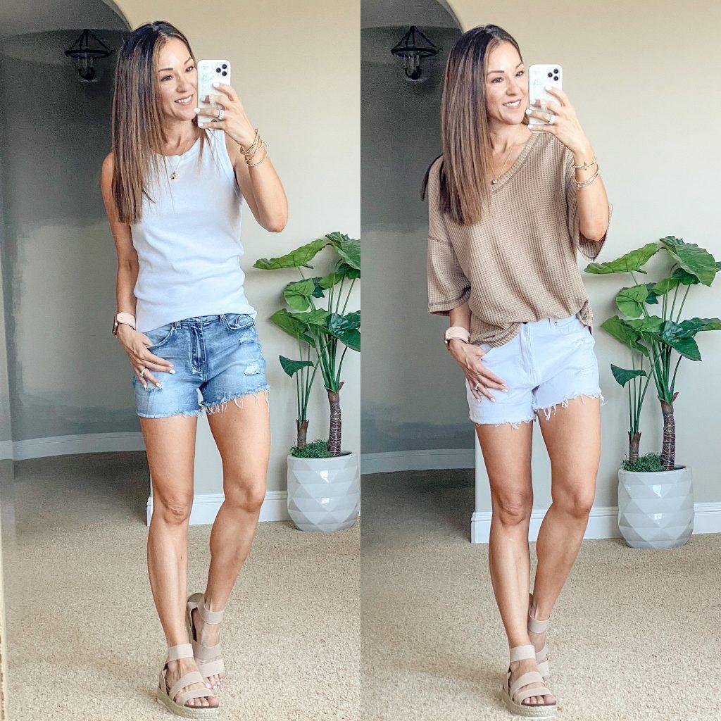 amazon denim shorts, distressed denim shorts, white denim shorts, summer tops, summer tank, petite over 40