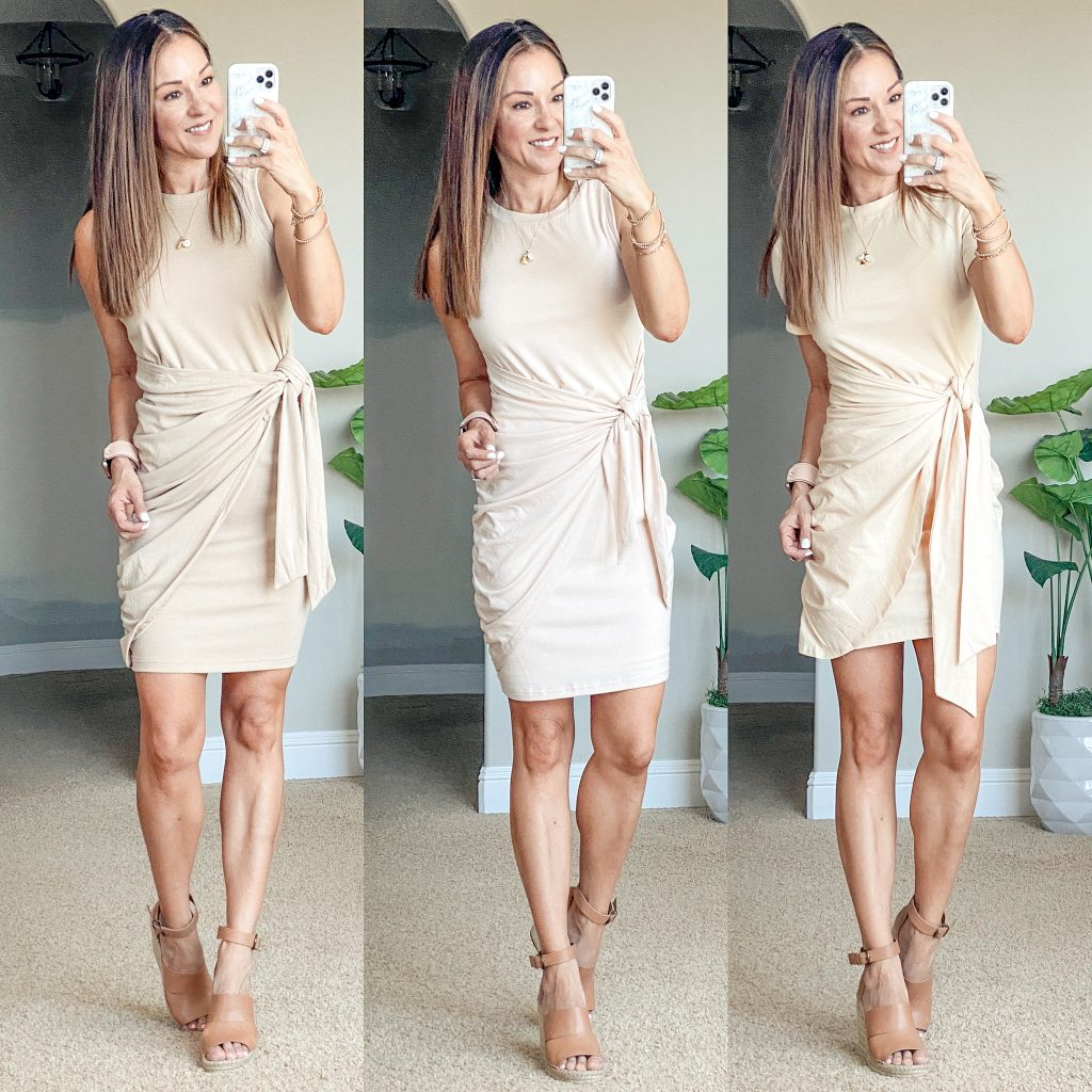 Affordable Neutral summer dresses for petite over 40, bodycon, ruched dress, tie front dress