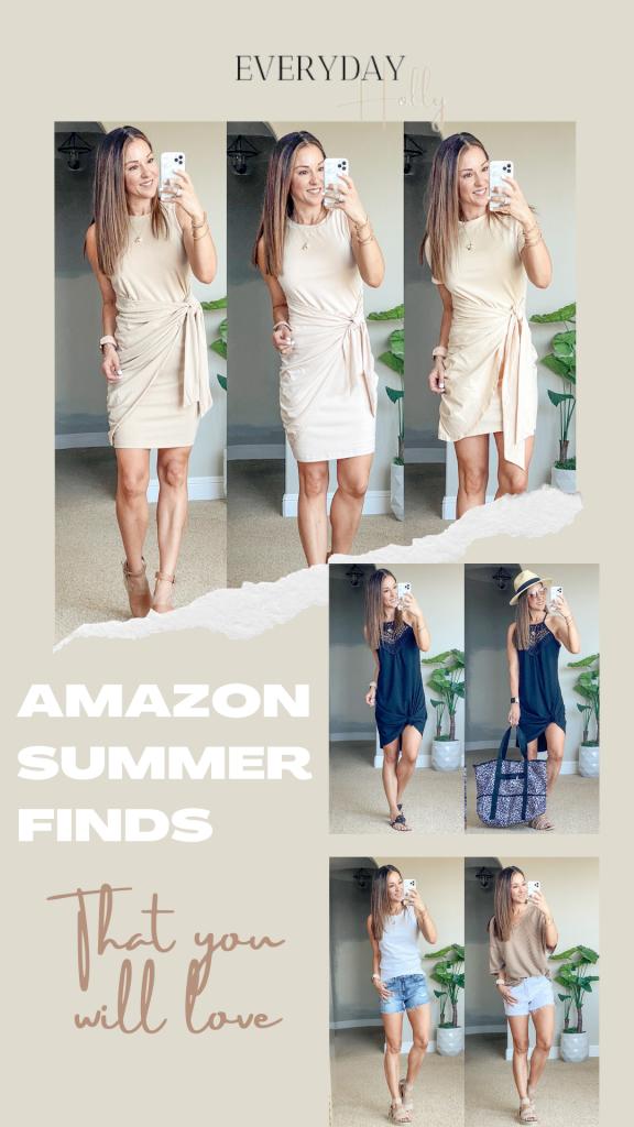 Amazon summer fashion, over 40 petite mom style, summer dresses, denim shorts, white denim shorts, pool tote, summer tops, sun hats, beach hats