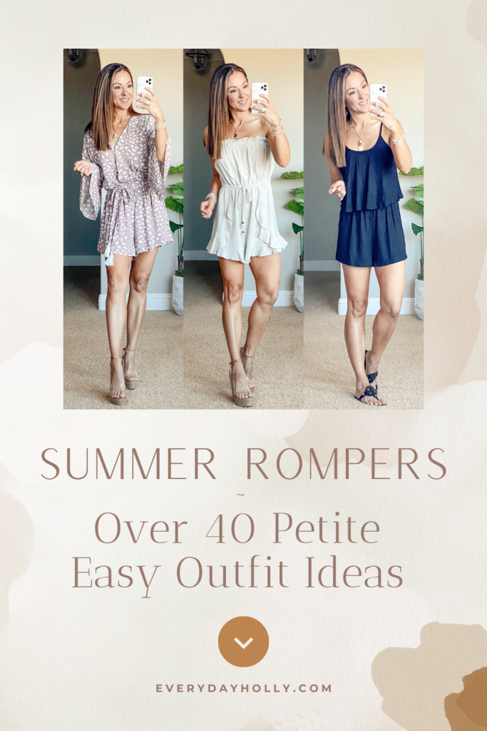 Casual summer outfits - rompers for any occassion - easy outfits - petite over 40 style - clear wedges - amazing denim shorts