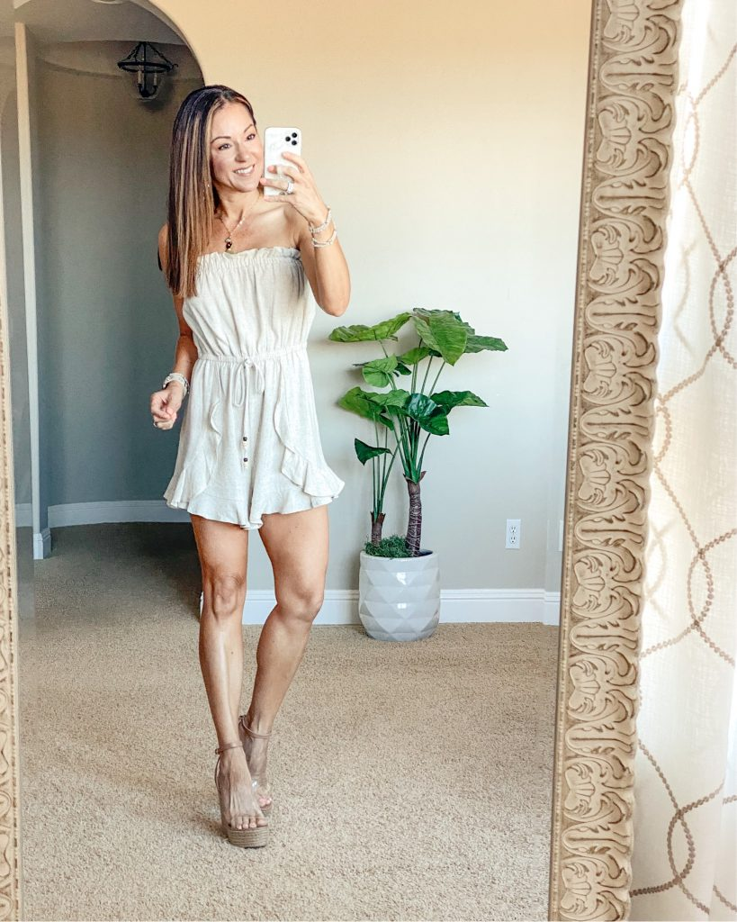 Summer romper - petite over 40 style - wine tasting outfit - brunch outfit - summer style - Pink Lily - summer wedges = clear wedges