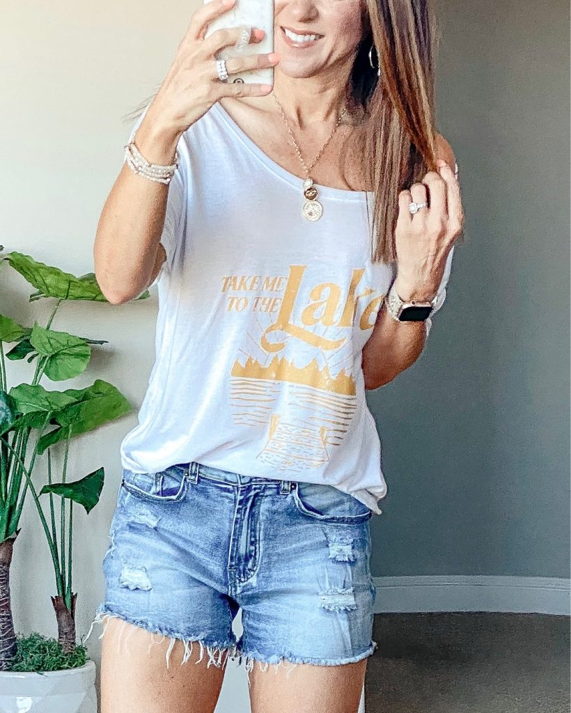 Take me to the Lake tee - summer casual outfit - amazon shorts - summer graphic tee - Pink Lily