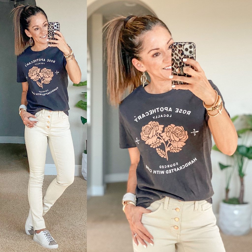 schitt's creek graphic tee, target fall fashion, skinny jeans, neutral style