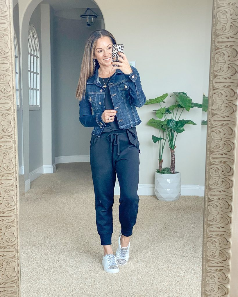 Cropped, Raw Edge Denim Jacket, jogger style, casual everyday outfit